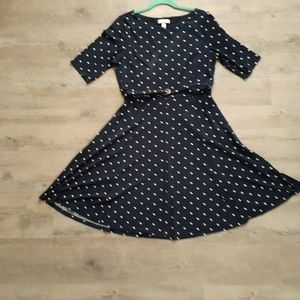 Charter club fit and flare polka dot dress